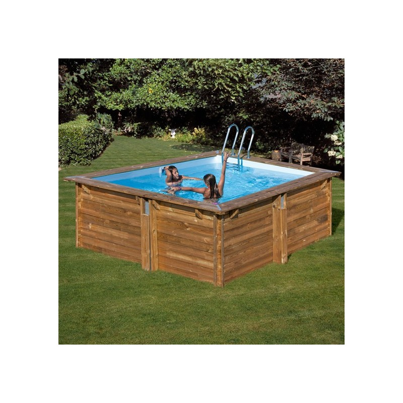Piscina de madera cuadrada gre tu tienda de piscinas online for Piscina hinchable cuadrada