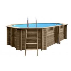Piscina de madera Gre Sevilla ovalada 872x472x146