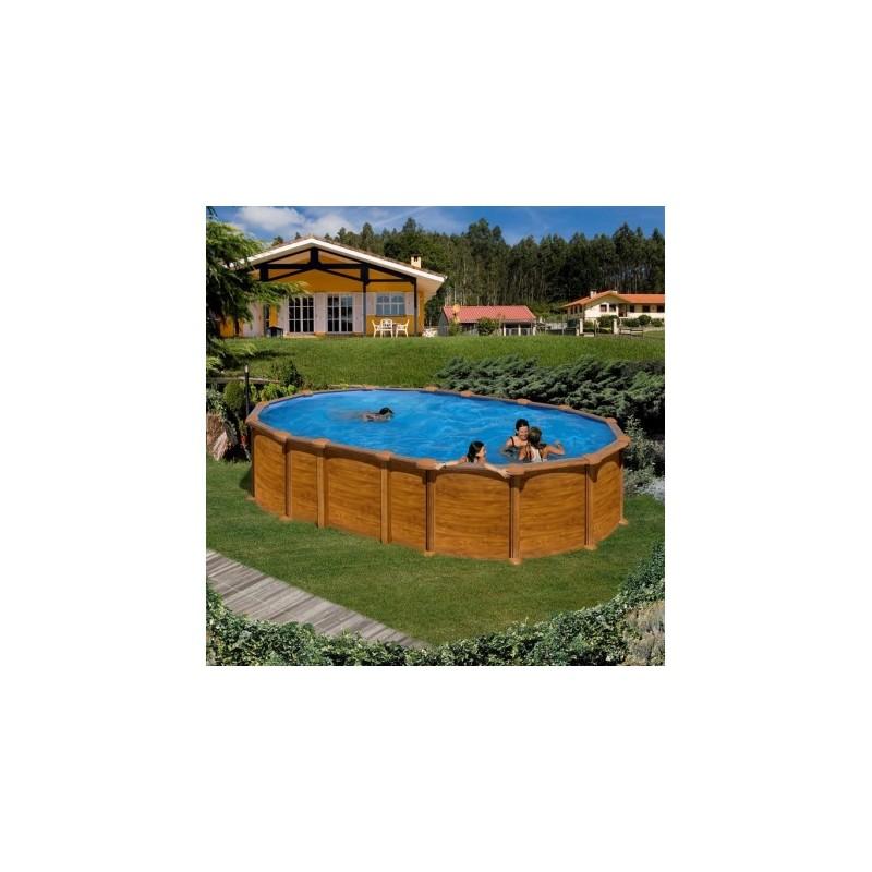 Piscina imitaci n madera ovalada grande gre piscinas online for Piscina java