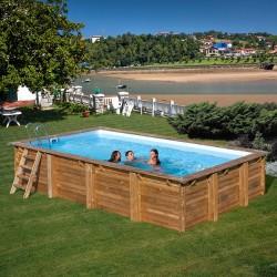 Piscina de madera Gre Evora rectangular 600x400x133