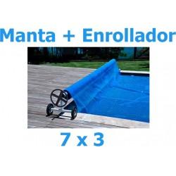 Manta térmica verano + enrollador piscinas 7x3 m