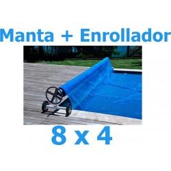 Manta térmica verano + enrollador piscinas 8 x 4 m