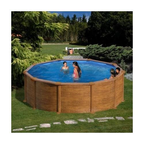 Piscina Gre Mauritius circular imitación madera